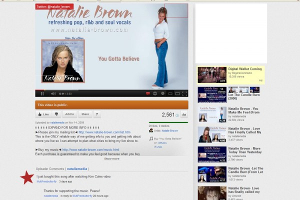 "MultiFreeButterfly's Post on my ""You Gotta Believe"" video page on YouTube"