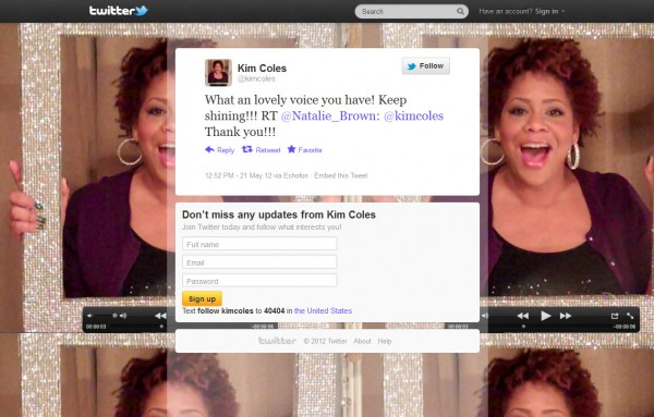 Tweet from Kim Coles May 21, 2012